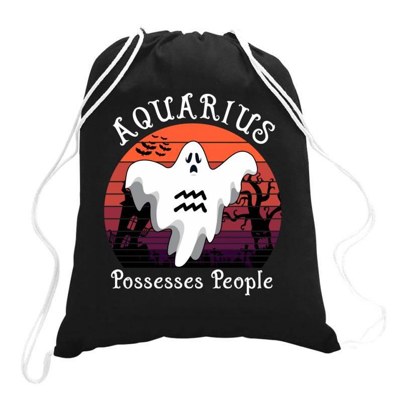 Vintage Ghost Zodiac Aquarius Funny Halloween Gift Drawstring Bags   Artistshot