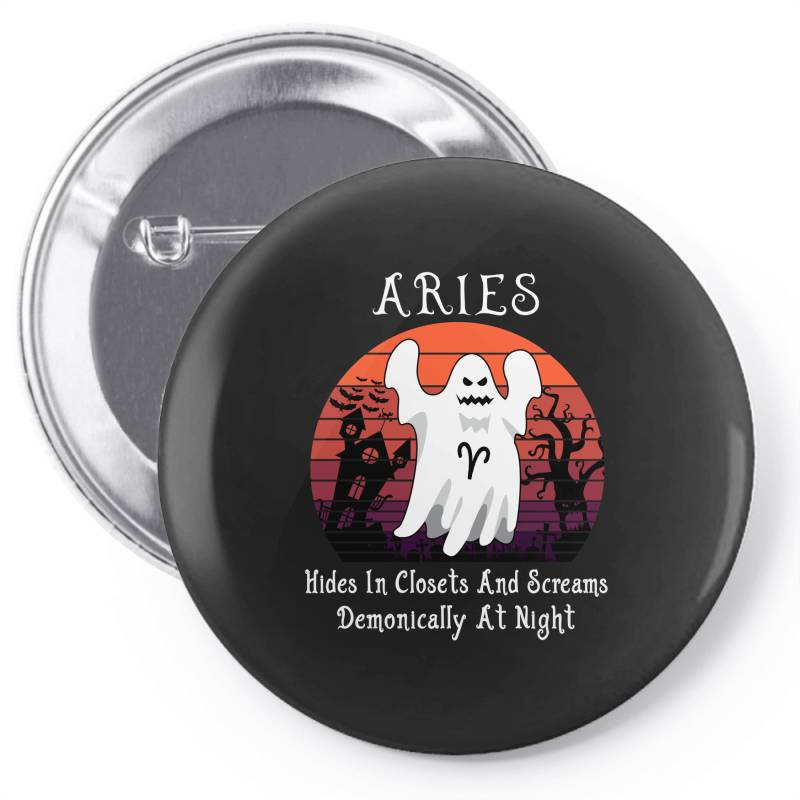 Vintage Ghost Zodiac Aries Funny Halloween Gift Pin-back Button | Artistshot