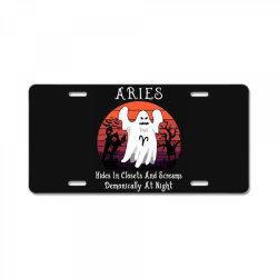 Vintage Ghost Zodiac Aries Funny Halloween Gift License Plate | Artistshot