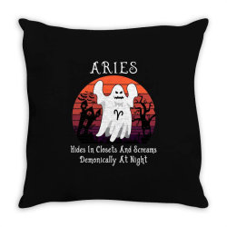 Vintage Ghost Zodiac Aries Funny Halloween Gift Throw Pillow | Artistshot