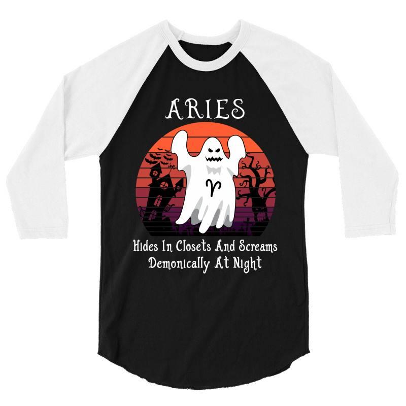 Vintage Ghost Zodiac Aries Funny Halloween Gift 3/4 Sleeve Shirt | Artistshot