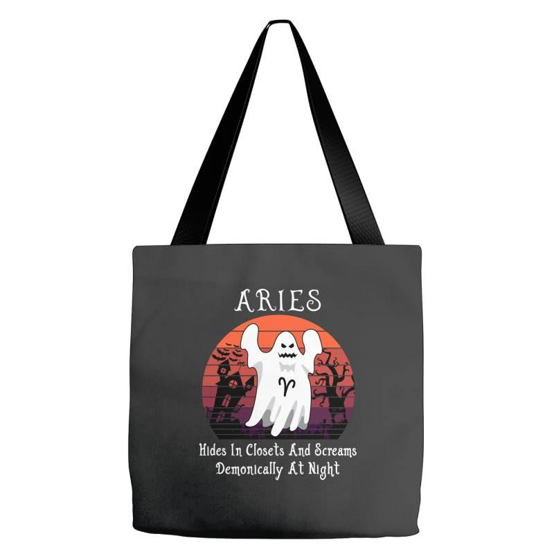 Vintage Ghost Zodiac Aries Funny Halloween Gift Tote Bags | Artistshot