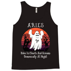 Vintage Ghost Zodiac Aries Funny Halloween Gift Tank Top | Artistshot
