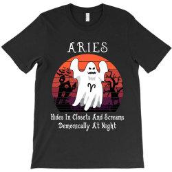 Vintage Ghost Zodiac Aries Funny Halloween Gift T-Shirt | Artistshot