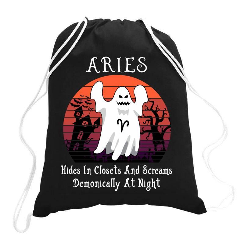 Vintage Ghost Zodiac Aries Funny Halloween Gift Drawstring Bags | Artistshot