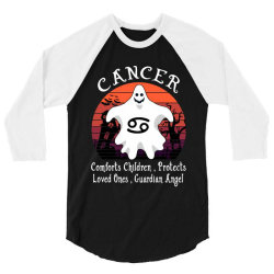 Vintage Ghost Zodiac Cancer Funny Halloween Gift 3/4 Sleeve Shirt | Artistshot