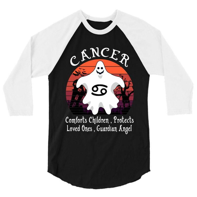 Vintage Ghost Zodiac Cancer Funny Halloween Gift 3/4 Sleeve Shirt   Artistshot
