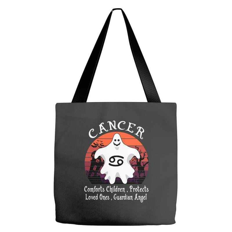 Vintage Ghost Zodiac Cancer Funny Halloween Gift Tote Bags | Artistshot