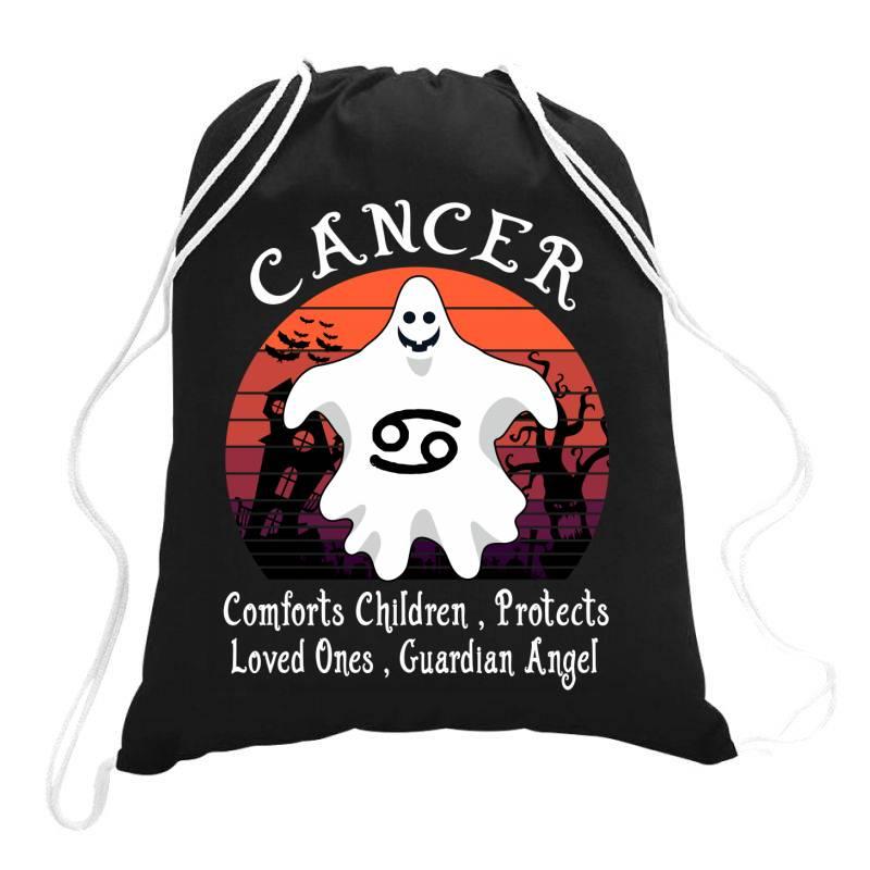 Vintage Ghost Zodiac Cancer Funny Halloween Gift Drawstring Bags | Artistshot