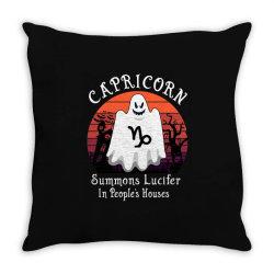 Vintage Ghost Zodiac Capricorn Funny Halloween Gift Throw Pillow | Artistshot