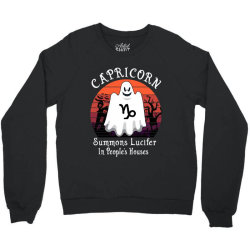 Vintage Ghost Zodiac Capricorn Funny Halloween Gift Crewneck Sweatshirt   Artistshot