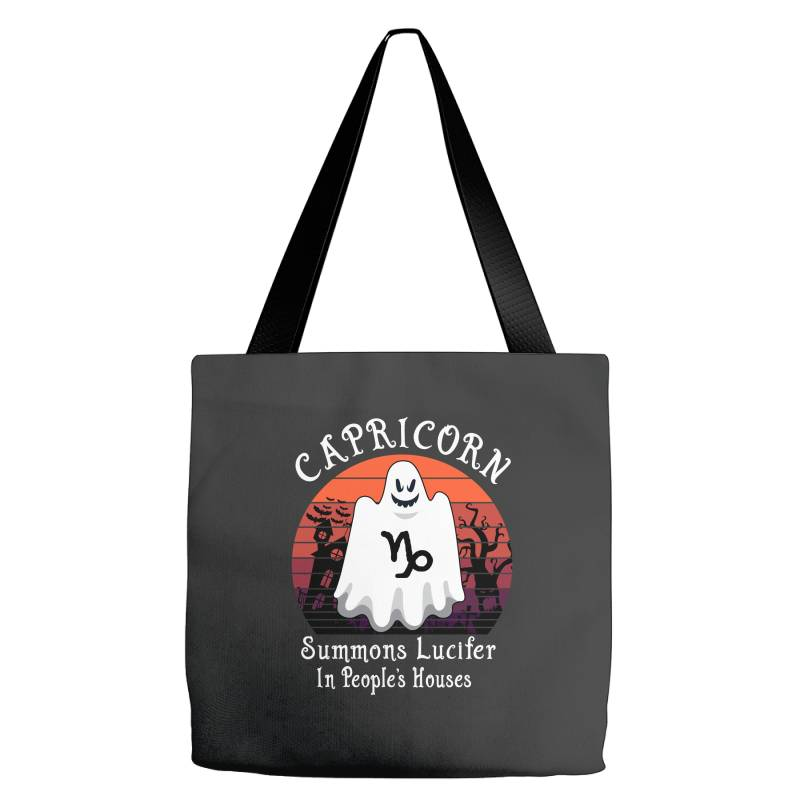 Vintage Ghost Zodiac Capricorn Funny Halloween Gift Tote Bags   Artistshot