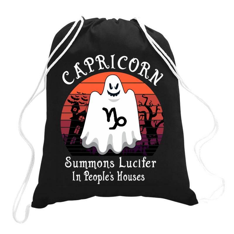 Vintage Ghost Zodiac Capricorn Funny Halloween Gift Drawstring Bags | Artistshot