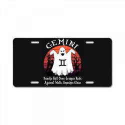 Vintage Ghost Zodiac Gemini Funny Halloween Gift License Plate | Artistshot