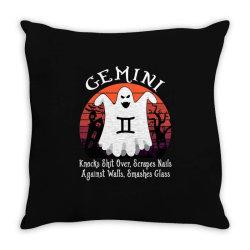 Vintage Ghost Zodiac Gemini Funny Halloween Gift Throw Pillow | Artistshot