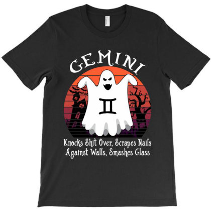 Vintage Ghost Zodiac Gemini Funny Halloween Gift T-shirt Designed By Love Shiga