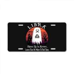Vintage Ghost Zodiac Libra Funny Halloween Gift License Plate | Artistshot