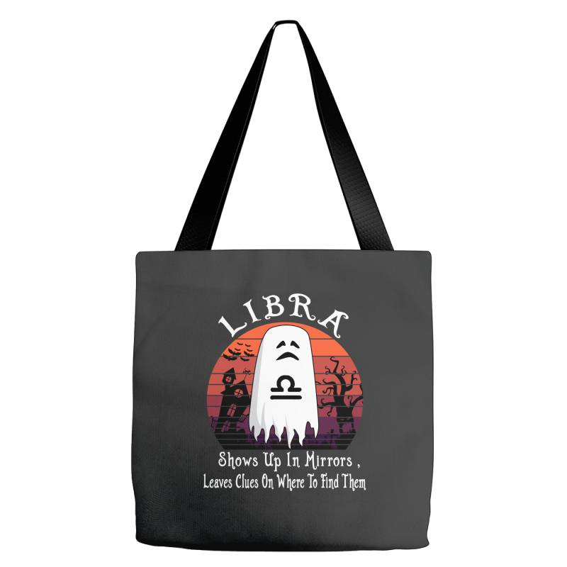 Vintage Ghost Zodiac Libra Funny Halloween Gift Tote Bags | Artistshot