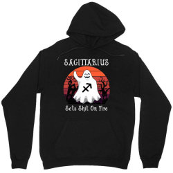 Vintage Ghost Zodiac Sagittarius Funny Halloween Birthday Gift Unisex Hoodie | Artistshot