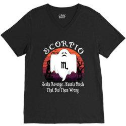 Vintage Ghost Zodiac Scorpio Funny Halloween Birthday Gift V-Neck Tee | Artistshot