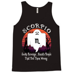 Vintage Ghost Zodiac Scorpio Funny Halloween Birthday Gift Tank Top | Artistshot