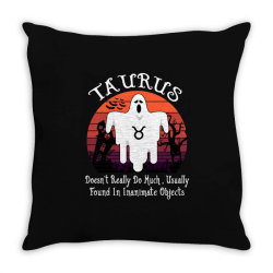 Vintage Ghost Zodiac Taurus Funny Halloween Birthday Gift Throw Pillow | Artistshot
