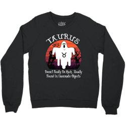 Vintage Ghost Zodiac Taurus Funny Halloween Birthday Gift Crewneck Sweatshirt | Artistshot