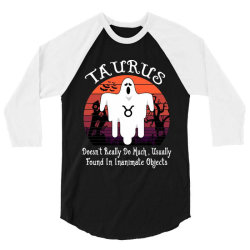 Vintage Ghost Zodiac Taurus Funny Halloween Birthday Gift 3/4 Sleeve Shirt | Artistshot