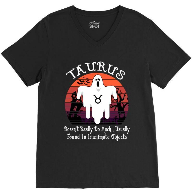 Vintage Ghost Zodiac Taurus Funny Halloween Birthday Gift V-neck Tee | Artistshot