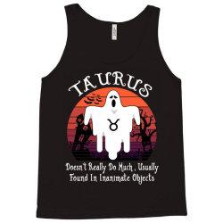 Vintage Ghost Zodiac Taurus Funny Halloween Birthday Gift Tank Top | Artistshot