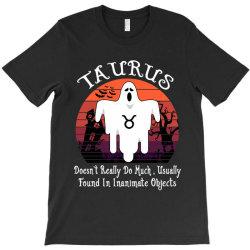 Vintage Ghost Zodiac Taurus Funny Halloween Birthday Gift T-Shirt | Artistshot