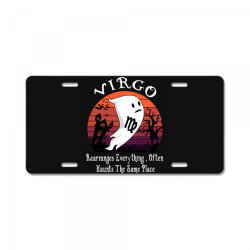 Vintage Ghost Zodiac Virgo Funny Halloween Birthday Gift License Plate | Artistshot