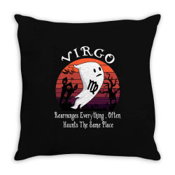 Vintage Ghost Zodiac Virgo Funny Halloween Birthday Gift Throw Pillow | Artistshot