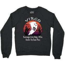 Vintage Ghost Zodiac Virgo Funny Halloween Birthday Gift Crewneck Sweatshirt   Artistshot