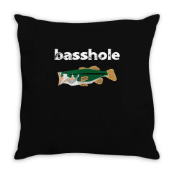 bassshole funny fishing Throw Pillow | Artistshot
