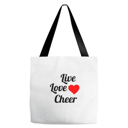 Live Love Cheer Black Tote Bags Designed By Perfect Designers