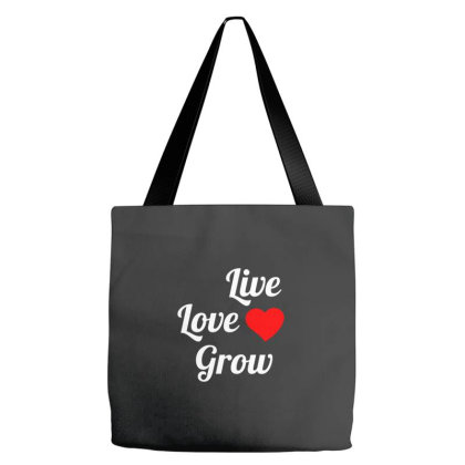 Live Love Grow White Tote Bags Designed By Perfect Designers