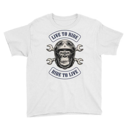 Live To Ride, Ride To Live, Motorcycles, Gorilla Youth Tee Designed By Estore