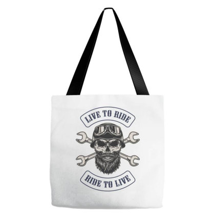 Live To Ride, Ride To Live, Motorcycles, Skull Tote Bags Designed By Estore