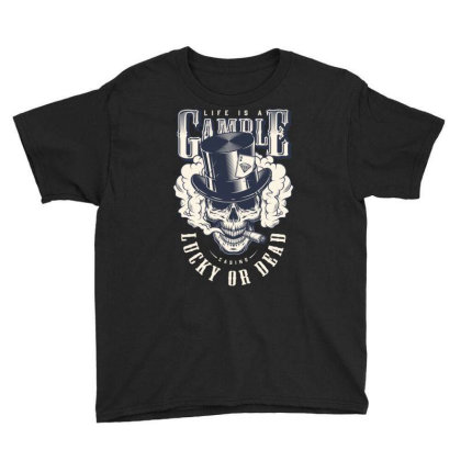 Casino, Lucky Or Dead, Skull Youth Tee Designed By Estore