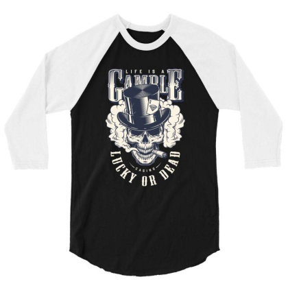 Casino, Lucky Or Dead, Skull 3/4 Sleeve Shirt Designed By Estore