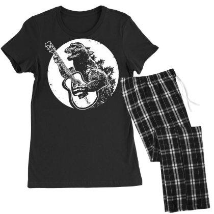Godzilla Playing Guitar Women's Pajamas Set Designed By Lyly