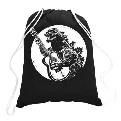 Godzilla Playing Guitar Drawstring Bags Designed By Lyly