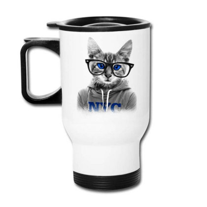 Smarty Cat Of Nyc Travel Mug Designed By Chiks