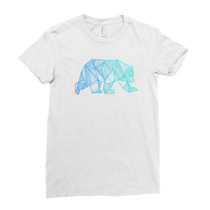 Geometric Bear T Shirt Camping And Hiking Wilderness Ladies Fitted T-shirt Designed By Nuansa