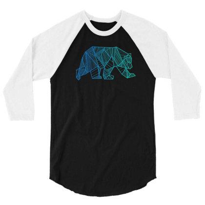 Geometric Bear T Shirt Camping And Hiking Wilderness 3/4 Sleeve Shirt Designed By Nuansa