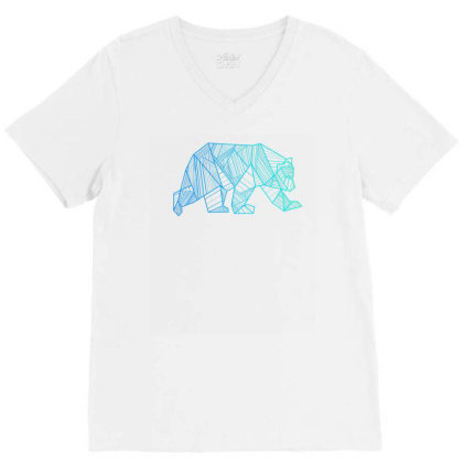 Geometric Bear T Shirt Camping And Hiking Wilderness V-neck Tee Designed By Nuansa