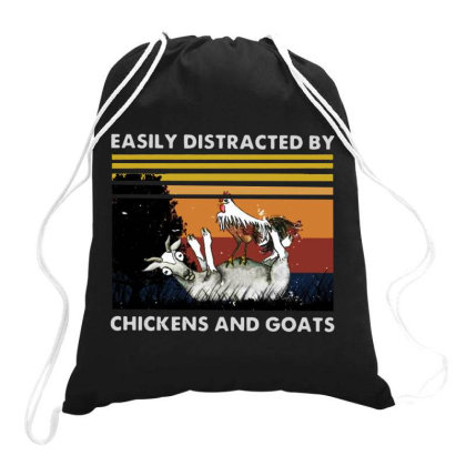 Easily Distracted By Chickens And Goats Vintage Drawstring Bags Designed By Tht