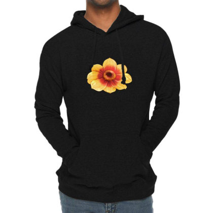 Yellow Flower Black Eyed Lightweight Hoodie Designed By American Choice