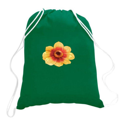 Yellow Flower Black Eyed Drawstring Bags Designed By American Choice
